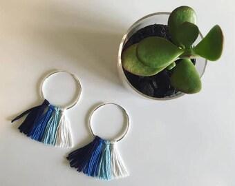 Ombre blue tassel hoop earrings