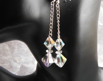 Vintage Style Faceted Crystal Glass Drop Earrings - Aurora Borealis.  New, Handmade