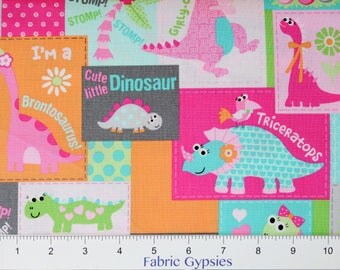 Girly-O-Saurus by Heidi Pridemore for Marcus Fabrics ~ PATCHWORK 9669-0126 PNK ~ By The Half Yard ~