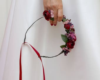 Marsala pink flower crown Flower ring Bridal head wreath Wedding headpiece Floral headband Bridesmaid crown Outdoor Maternity photo props