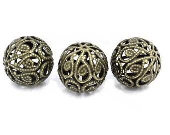 Set of 2 beautiful bronze colored metal beads filigree 20 mm