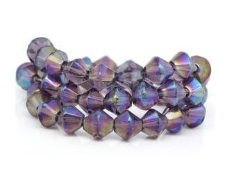 set of 50 6 mm dark purple bicone glass beads