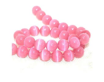 set of 10 glass beads Pink 8 mm cat's eye