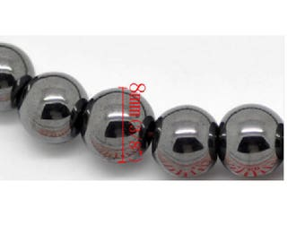 Set of 10 beads Hematite gunmetal 8mm
