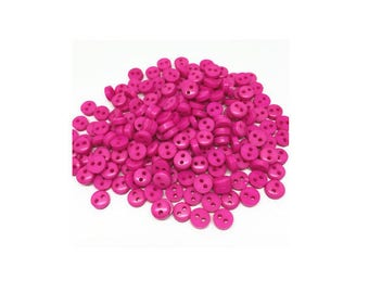 Set of 20 hot pink buttons 6 mm 2 hole, scrapbooking