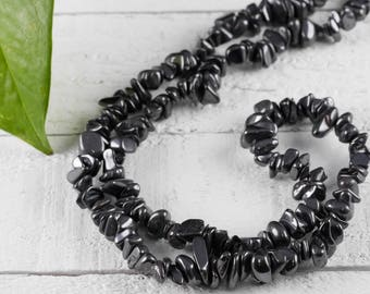 "34"" HEMATITE Chip Necklace - Hematite Bead Necklace, Hematite Jewelry, Hematite Necklace, Healing Crystal Jewelry, Healing Stone E0824"