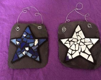Lovely, unique mosaic star on recycled slate with recycled china and stained glass, a perfect thank you teacher gift or birthday present.