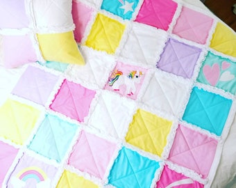 MAGICAL UNICORN QUILT - Baby Rag Quilt, Unicorn Blanket, Baby Blanket, Baby Shower Gift, Special Occasion Baby Girl Gift, Unicorn Quilt