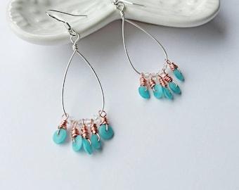 Turquoise earrings, chandelier earrings, mixed metal jewelry, beaded dangle earrings, boho jewellery, gifts for her, boho earrings,