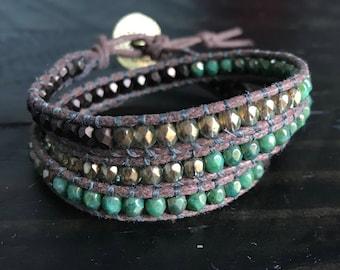 Bronze and Turquoise Wrap Bracelet