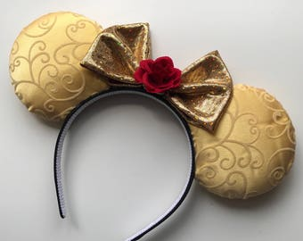 Belle Beauty and the Beast Inspired Mickey Minnie Mouse Ears Head Band Headband Be Our Guest Gaston Lumiere Chip Cogsworth Mrs Potts