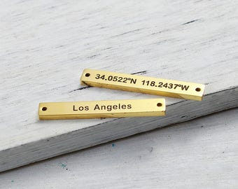 "Rectangle connector ""Los Angeles"" and coordinates stainless steel 304 Gold 3.5 cm"