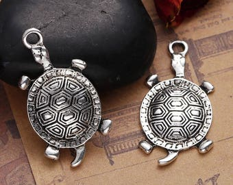 5 pendants turtle in silvered Metal 3.5 cm / Animal