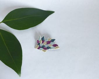 Brooch / embroidered leaves / embroidered jewelry / Nature / jewelry woman accessory / embroidered accessory / plant