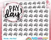 54 Cute Pay Day Words/Functional/Planner Stickers, Filofax, Erin Condren, Happy Planner, Kawaii, Cute Sticker, UK