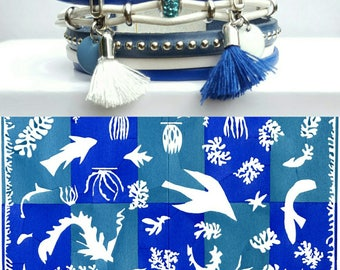 "Multicolored ""Matisse 3"" leather Cuff Bracelet"