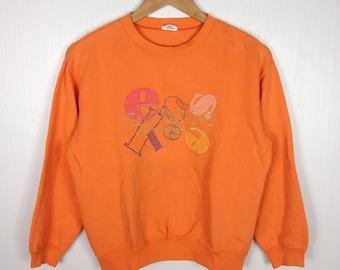 Rare !! Vintage 90s ELLESSE PERUGIA ITALIA Embroidered Big Logo Orange Crew Neck Sweatshirt Medium Size