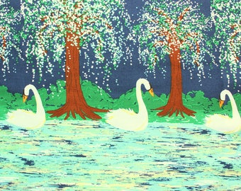Swan Lake, Michael Miller Fabric, Beautiful Cotton Fabric, Beautiful Navy, Night Skies, Perfect for Girl Dresses, Baby Rompers, Quilts, Swan