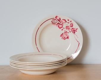 6 Antique soup plates
