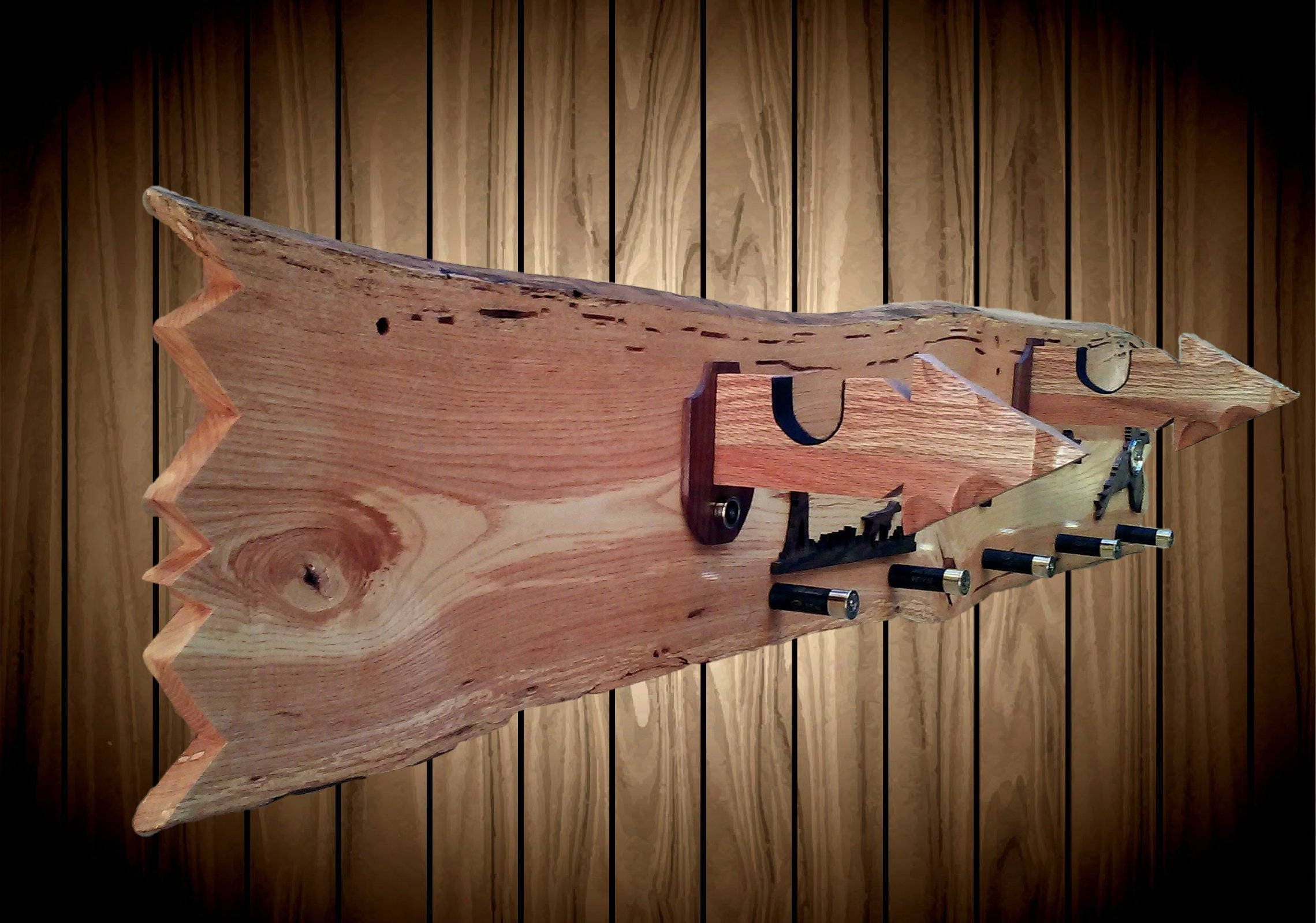 Rustic Live Edge Ash Wood Wall Decor Gun Hat Coat Rack Oak