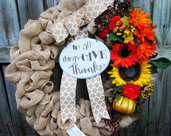 Fall wreath for front door, Give Thanks wreath, Sunflower wreath, Pumpkin wreath, Autumn wreath, Thanksgiving wreath, Pinecone wreath, Fall