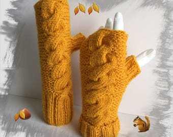 Fingerless gloves wool soft and warm, color plum/mustard, for women/adults/teens