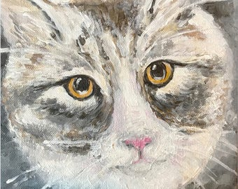 "ORIGINAL Acrylic Painting ""Grey Cat"""