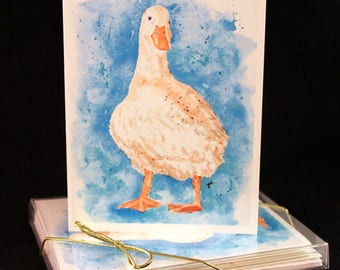 Set of Original PRINT Watercolor Chuck the Duck Cards, Animal Note Cards/Greeting Cards (Set of Four)watercolor Cards