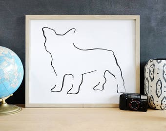 French Bulldog Art Print, French Bulldog Line Drawing, Dog Lover Gift, Minimalist Line Art, Modern Line Drawing, 5 x 7, 8 x 10, 11 x 14