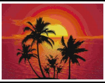 Beach Scenery Cross Stitch - Palm Trees - Beach - Ocean - PDF Download