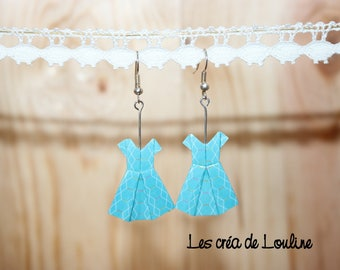 Blue origami dress earrings