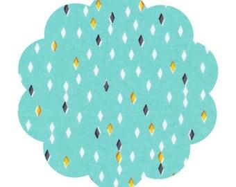 Organic cotton fabric supply. Glint gem peimt fabric. Apparel cotton fabric. DIY sewing fabric. Blue gem print fabric. Craft fabric.