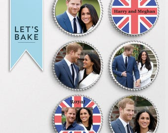 Harry and Meghan wedding cupcake topper,Harry and Meghan cake topper,Royal wedding cupcake topper,Royal wedding cake topper,uk,rice paper