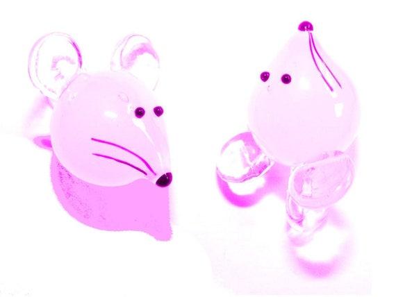 Pendant mouse 30 mm Rose x 1
