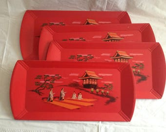 Vintage Hasko Deluxe Lap Trays ~ Set of Four Japanese Themed ~ 1960s