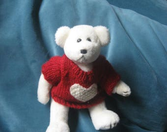 TY Valentine White Bear with Red Sweater/White Heart 1993