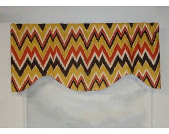Duralee Mell Ikat Chevron Brown and Coral Slubbed Valance