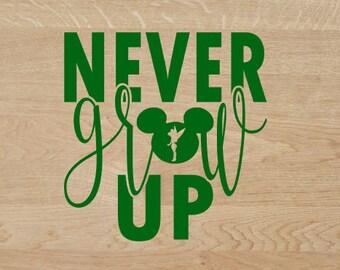 Never Grow UP Decal, Decal, yeti decal, sticker, dashingvinyl, vinyl, never grow up, peter pan, tinker bell