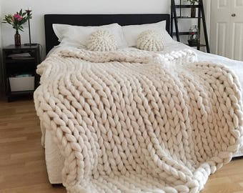 Chunky knit blanket, white blanket, chunky knit, chunky throw, Chunky blanket, Giant knit blanket, Knitted blanket, arm knitted blanket