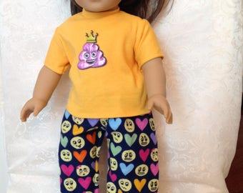 American Girl 18 inch doll Flannel Emoji two piece pajama set