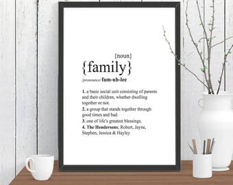 PERSONALISED FAMILY Dictionary Definition Quote Print, Wall Art, Room Decor, Modern, Poster, Gift for Home A4 A3 A2 8x10 11x14 12x18 16x20