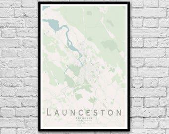 Launceston TAS City Street Map Print | Apartment Wall Art | Travel Print | Wedding Gift Idea | Wall decor | Travel Nursery Print | A3 A2