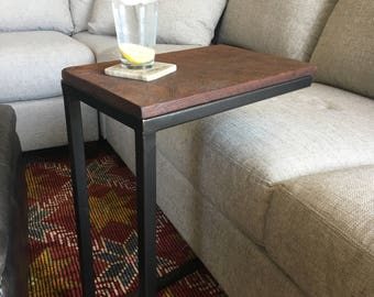 Industrial Reclaimed Wood C Table,Side Table,Couch Table,TV Tray,Sofa