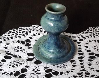Vintage Ceramic Candleholder for one Candle,blue Colored Glaze, Ethnic Style, Latvia