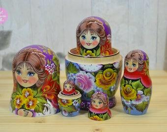 Handmade babushka, Gift for woman, Hand painted nesting doll in floral decor, Russian matryoshka, Traditional folk art, Painting on wood