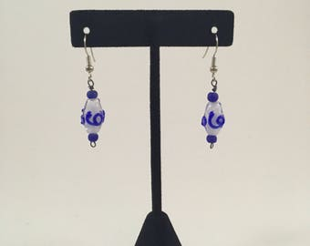 Blue and White Glass Bead Earrings