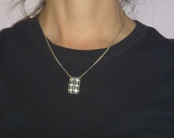 rhinestone pendant on silver chain, vintage diamante pendant