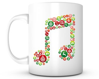 Christmas Music Coffee Mug - Unique Gifts For Men or Women, Him or Her - Cool Present Idea For Mom, Dad, Kids, Son, Daughter, Wife