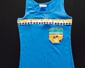 Tank top - African print accents - turquoise - spots - with pocket
