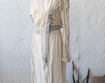 Edwardian Crochet and Linen Barkcloth Gown